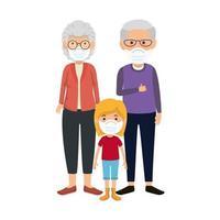 grootouders met kleindochter met gezichtsmasker
