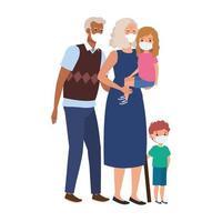 grootouders met kleinkinderen die gezichtsmasker gebruiken vector