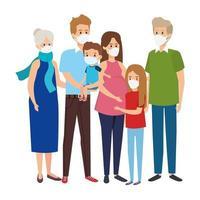 schattige groep familie met gezichtsmasker vector