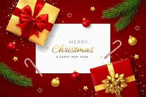 Kerst achtergrond met vierkante papieren banner, realistische rode geschenkdozen met rode en gouden strikken, dennentakken, gouden sterren en glitter confetti, ballen bauble. xmas achtergrond, wenskaarten. vector