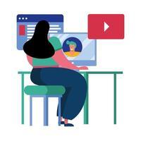 jonge vrouw met behulp van video-oproeptechnologie