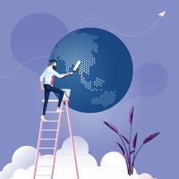 zakenman ruimt het concept van de wereld-zakelijke omgeving op