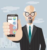 oude zakenman met smartphonevector