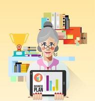 oude zakenvrouw met tablet vector