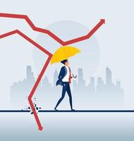 zakenman bedrijf paraplu beschermen grafiek pijl