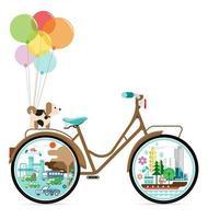 fiets met groene stad vector