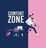 zakenman verlaten comfort zone vector