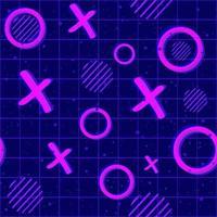 psychedelisch neon x en o naadloos patroon voor gaming. vector
