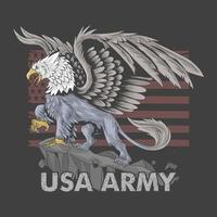 de griffioenadelaar heeft het lichaam van een leeuw met grote vleugels als symbool van het Amerikaanse leger, vector