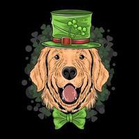 st. patrick's day schattige golden retriever puppy hond kunstwerk vector