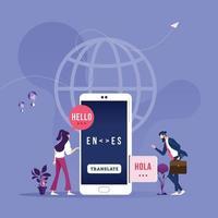 online vertaler in mobiele telefoon-globaal draadloze technologieconcept vector