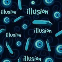 Turks oog en edelstenen naadloze patroon op een blauwe achtergrond.