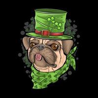 st. patrick's day pug puppy hond kunstwerk vector