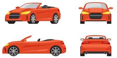 cabriolet in verschillende hoeken. vector