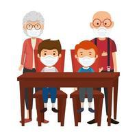 schattige familieleden met gezichtsmasker in houten tafel