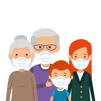 familieleden die gezichtsmasker geïsoleerde pictogrammen gebruiken