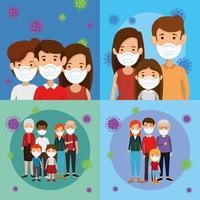 scènes van gezinnen instellen met een gezichtsmasker