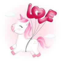 eenhoorn en ballonnen die liefde spellen vector