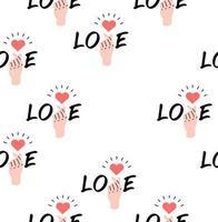 hand met teken mini hart met woord liefde naadloze patroon