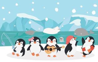 gelukkige pinguïnfamilie buitenshuis vector