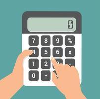 handen met behulp van een rekenmachine platte vector