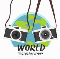 hangende vintage camera met wereldfotografie dag vector