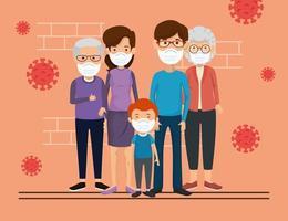 familieleden die gezichtsmasker met deeltjes 2019 ncov gebruiken