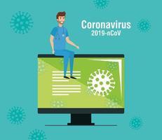 computer met informatie over 2019 ncov en paramedicus