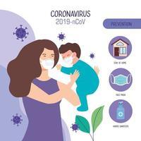 vrouw en babyjongen die gezichtsmasker met deeltjes gebruiken 2019 ncov
