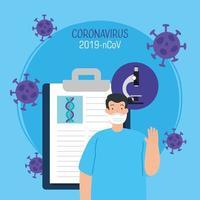 man met gezichtsmasker met medische pictogrammen en deeltjes 2019 ncov