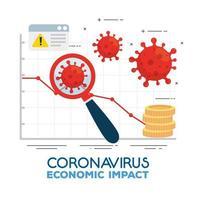 coronavirus 2019 ncov impact wereldeconomie, covid 19 virus verlaagt economie, wereldeconomische impact covid 19, statistiek bedrijf en pictogrammen naar beneden vector