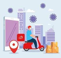 levering van goederen tijdens de preventie van coronavirus, koeriermedewerker met gezichtsmasker in motorfiets en pictogrammen