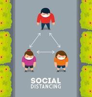 sociale afstand houden, afstand bewaren in de openbare samenleving tot mensen beschermen tegen covid 19, luchtfoto van mensen bekijken vector