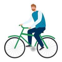 jonge man in fiets op witte achtergrond vector