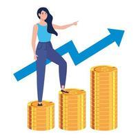 vrouw trapt van stapels munten naar zijn financiële doel, stapel munten, jonge vrouw vector