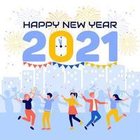 mensen vieren terwijl ze aftellen tot het nieuwe jaar vector