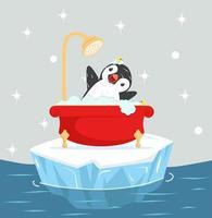 pinguïn die een bad neemt met schuim