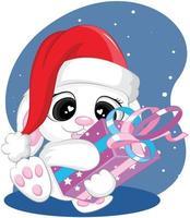 kerst wit konijn, wintergroeten. wenskaarten voor kerstmis en nieuwjaar