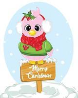 vrolijke kerstkaart met schattige vogel. poster van eerste kerstdag.
