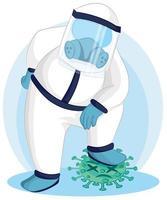 dokter stapte voet op coronavirus vector