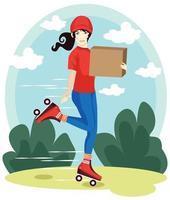 bezorger, die een pakket met rode hoed en t-shirt cartoon vectorillustratie levert vector