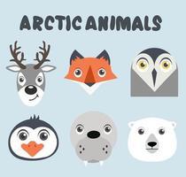 schattige dieren arctische hoofden ingesteld vector