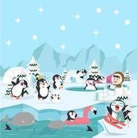 winters tafereel met pinguïns