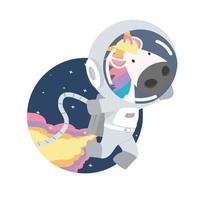 astronaut Eenhoorn in de ruimte