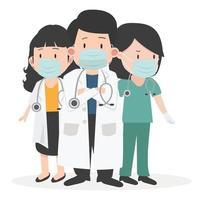 groep artsen met medische maskerset