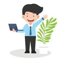 zakenman die een laptop computerconcept houdt