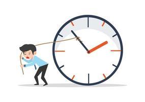 trieste zakenman die de tijdvector probeert te stoppen
