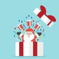 Kerstman met geschenkdoos vector