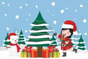 Kerstman meisje met winter noordpool arctische vector