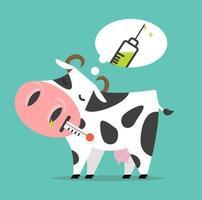 zieke koe die aan het vaccin denkt vector